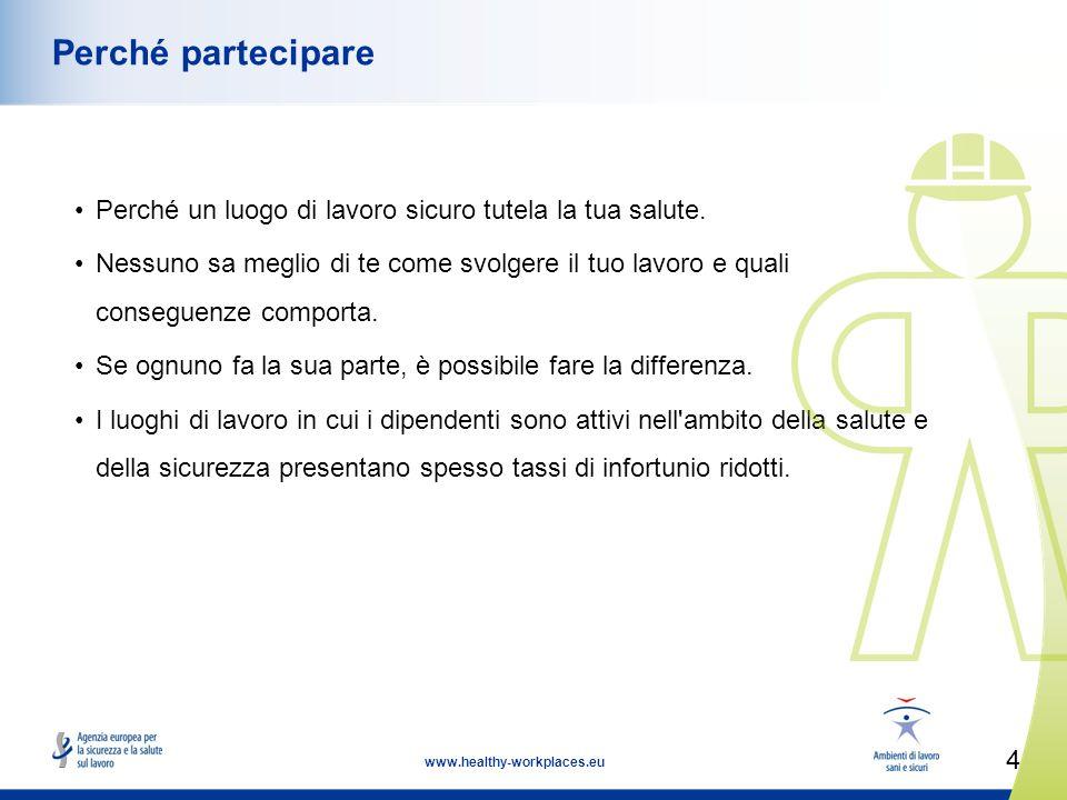 4 www.healthy-workplaces.eu Perché partecipare Perché un luogo di lavoro sicuro tutela la tua salute.