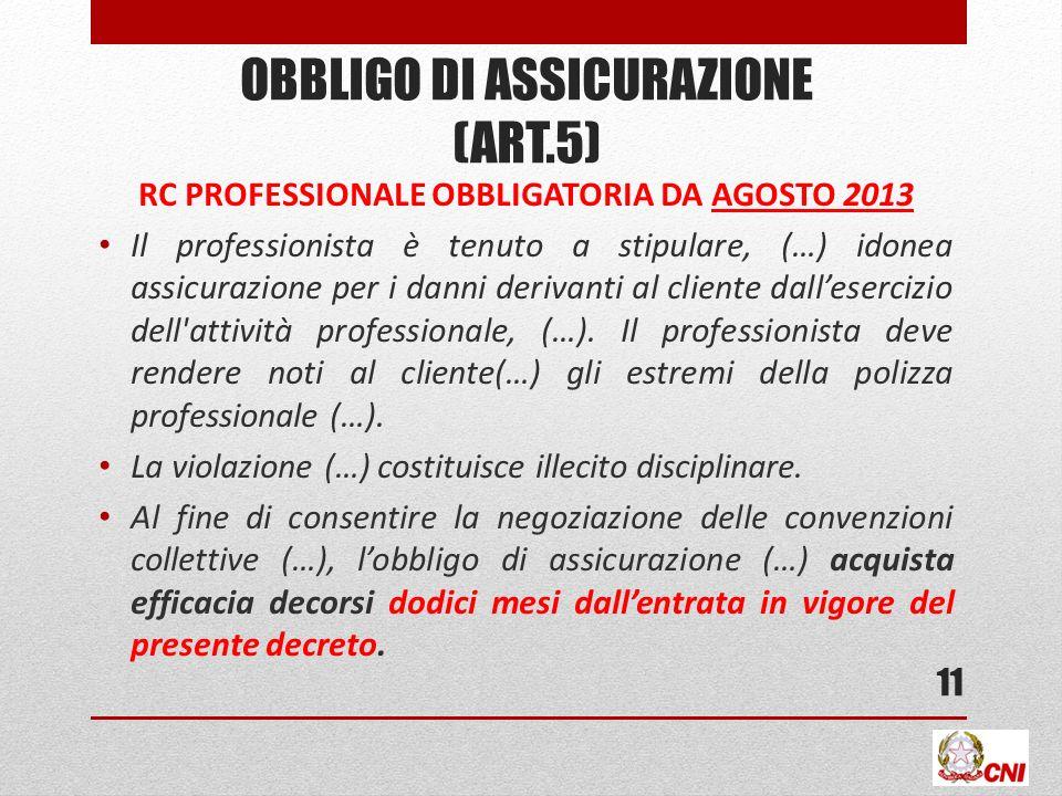 OBBLIGO DI ASSICURAZIONE (ART.5) RC PROFESSIONALE OBBLIGATORIA DA AGOSTO 2013 Il professionista è tenuto a stipulare, (…) idonea assicurazione per i d