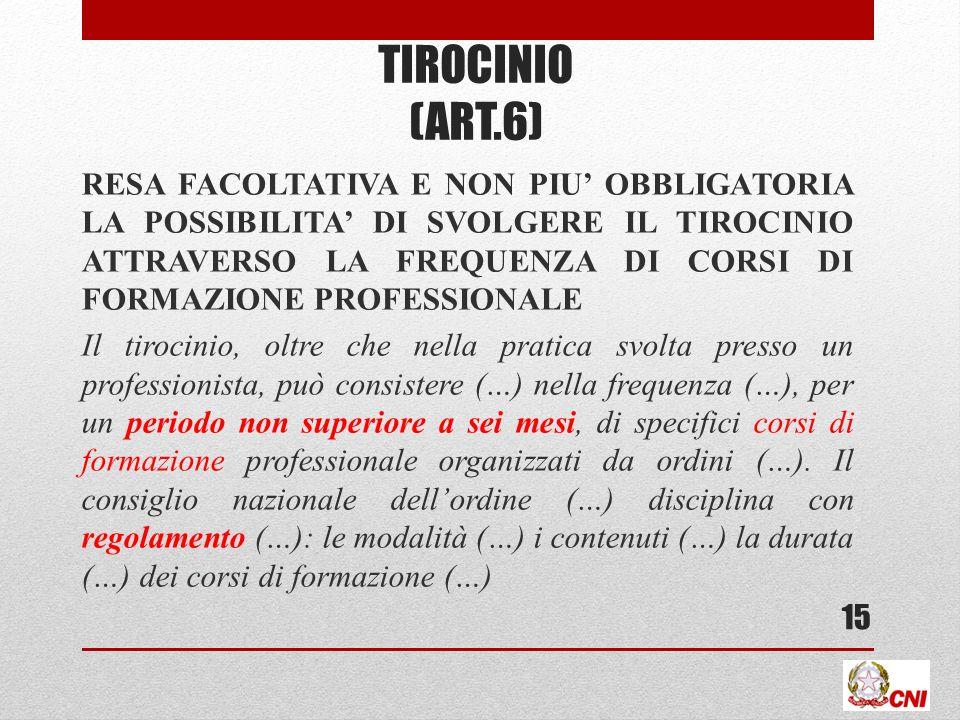 TIROCINIO (ART.6) RESA FACOLTATIVA E NON PIU OBBLIGATORIA LA POSSIBILITA DI SVOLGERE IL TIROCINIO ATTRAVERSO LA FREQUENZA DI CORSI DI FORMAZIONE PROFE