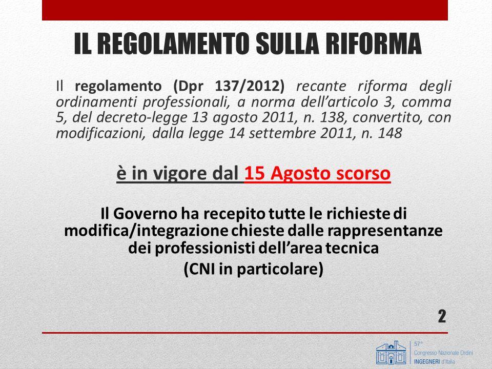 Il regolamento (Dpr 137/2012) recante riforma degli ordinamenti professionali, a norma dellarticolo 3, comma 5, del decreto-legge 13 agosto 2011, n. 1