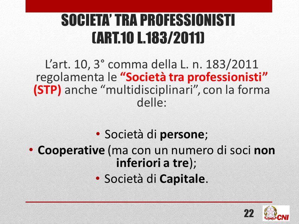 SOCIETA TRA PROFESSIONISTI (ART.10 L.183/2011) Lart. 10, 3° comma della L. n. 183/2011 regolamenta le Società tra professionisti (STP) anche multidisc