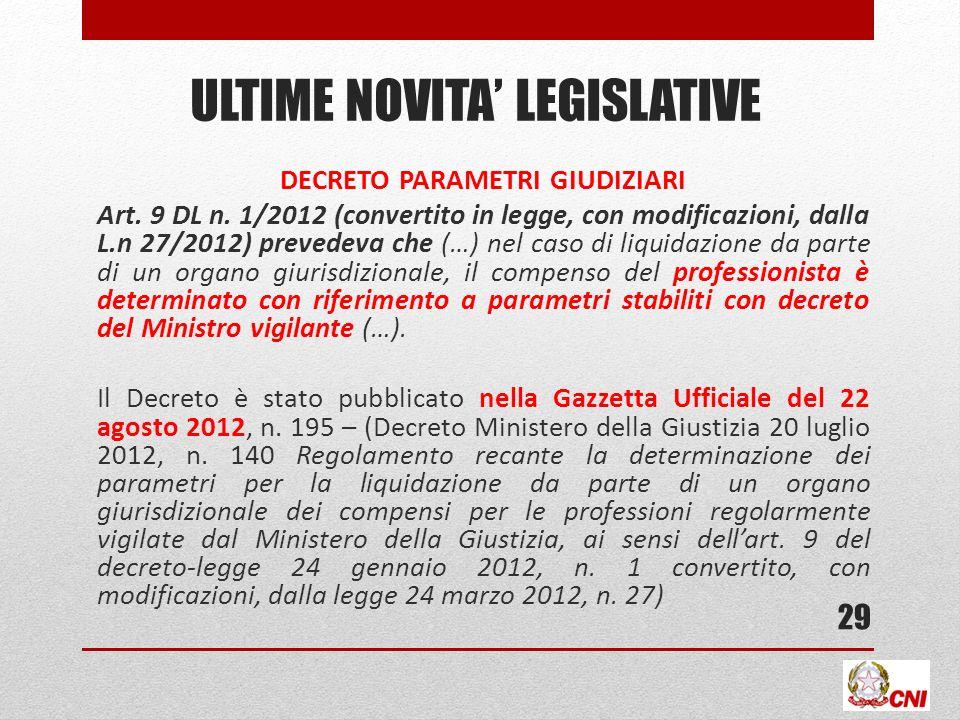 ULTIME NOVITA LEGISLATIVE DECRETO PARAMETRI GIUDIZIARI Art. 9 DL n. 1/2012 (convertito in legge, con modificazioni, dalla L.n 27/2012) prevedeva che (