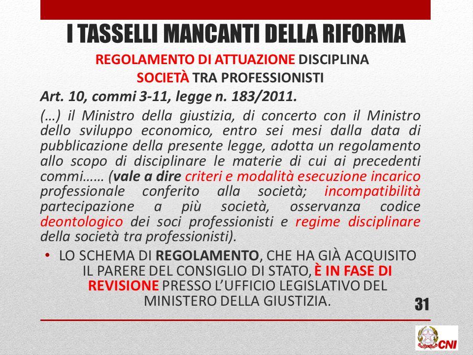 I TASSELLI MANCANTI DELLA RIFORMA REGOLAMENTO DI ATTUAZIONE DISCIPLINA SOCIETÀ TRA PROFESSIONISTI Art. 10, commi 3-11, legge n. 183/2011. (…) il Minis