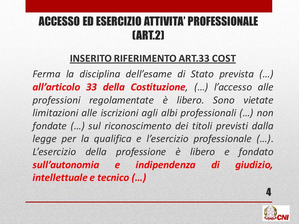 ACCESSO ED ESERCIZIO ATTIVITA PROFESSIONALE (ART.2) INSERITO RIFERIMENTO ART.33 COST Ferma la disciplina dellesame di Stato prevista (…) allarticolo 3
