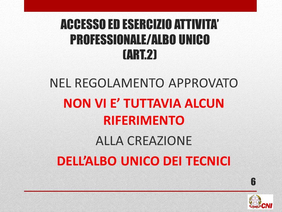 ACCESSO ED ESERCIZIO ATTIVITA PROFESSIONALE/ALBO UNICO (ART.2) NEL REGOLAMENTO APPROVATO NON VI E TUTTAVIA ALCUN RIFERIMENTO ALLA CREAZIONE DELLALBO U
