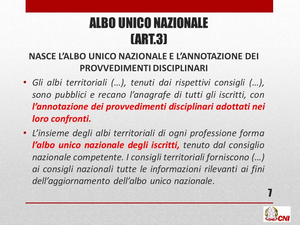 ALBO UNICO NAZIONALE (ART.3) NASCE LALBO UNICO NAZIONALE E LANNOTAZIONE DEI PROVVEDIMENTI DISCIPLINARI Gli albi territoriali (…), tenuti dai rispettiv