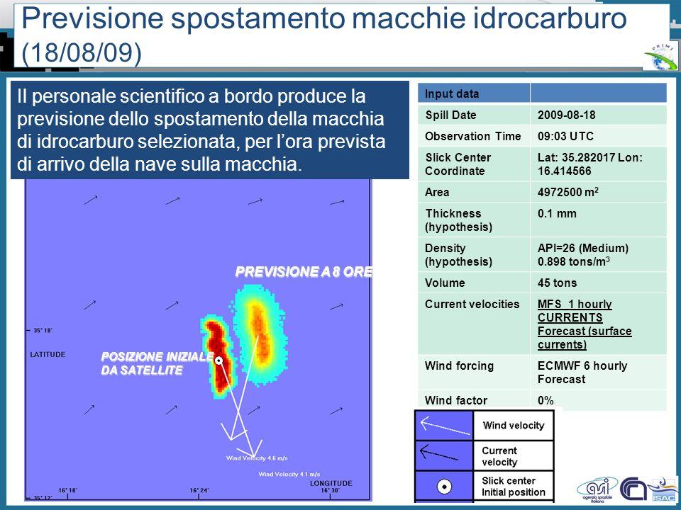 Workshop PRIMI (12 aprile 2011) - Il monitoraggio dallo spazio dellinquinamento marino da idrocarburi tra presente e futuro Previsione spostamento mac