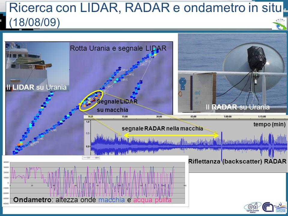 Workshop PRIMI (12 aprile 2011) - Il monitoraggio dallo spazio dellinquinamento marino da idrocarburi tra presente e futuro Segnale LIDAR su macchia I