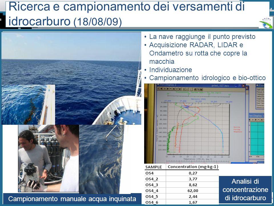 Workshop PRIMI (12 aprile 2011) - Il monitoraggio dallo spazio dellinquinamento marino da idrocarburi tra presente e futuro La nave raggiunge il punto