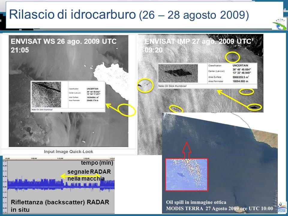 Workshop PRIMI (12 aprile 2011) - Il monitoraggio dallo spazio dellinquinamento marino da idrocarburi tra presente e futuro Rilascio di idrocarburo (2