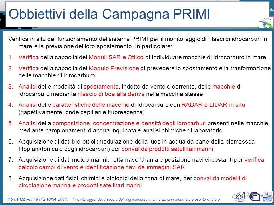 Workshop PRIMI (12 aprile 2011) - Il monitoraggio dallo spazio dellinquinamento marino da idrocarburi tra presente e futuro Obbiettivi della Campagna
