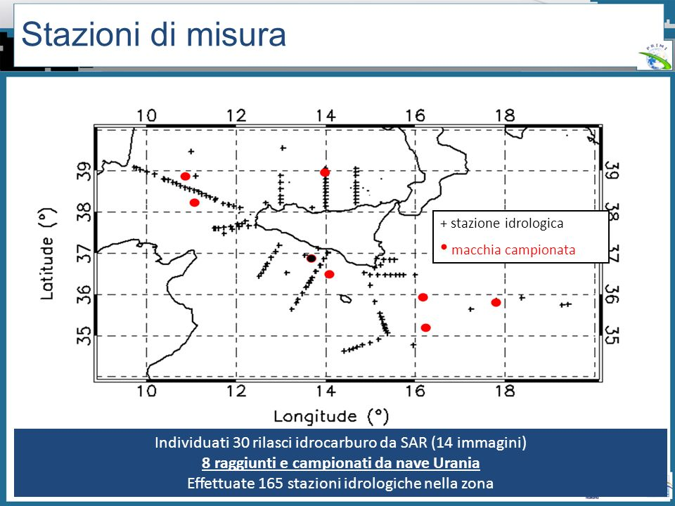 Workshop PRIMI (12 aprile 2011) - Il monitoraggio dallo spazio dellinquinamento marino da idrocarburi tra presente e futuro Stazioni di misura + stazi