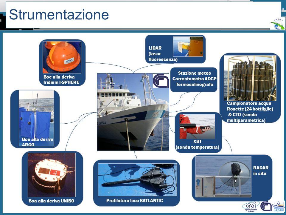 Workshop PRIMI (12 aprile 2011) - Il monitoraggio dallo spazio dellinquinamento marino da idrocarburi tra presente e futuro Strumentazione Boe alla de
