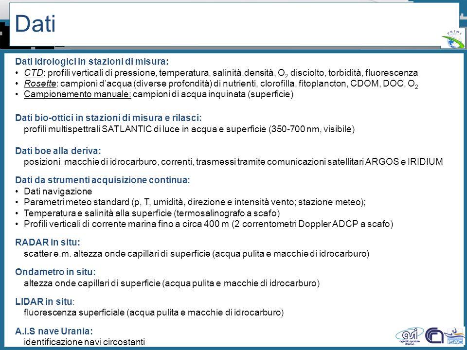 Workshop PRIMI (12 aprile 2011) - Il monitoraggio dallo spazio dellinquinamento marino da idrocarburi tra presente e futuro Dati Dati idrologici in st