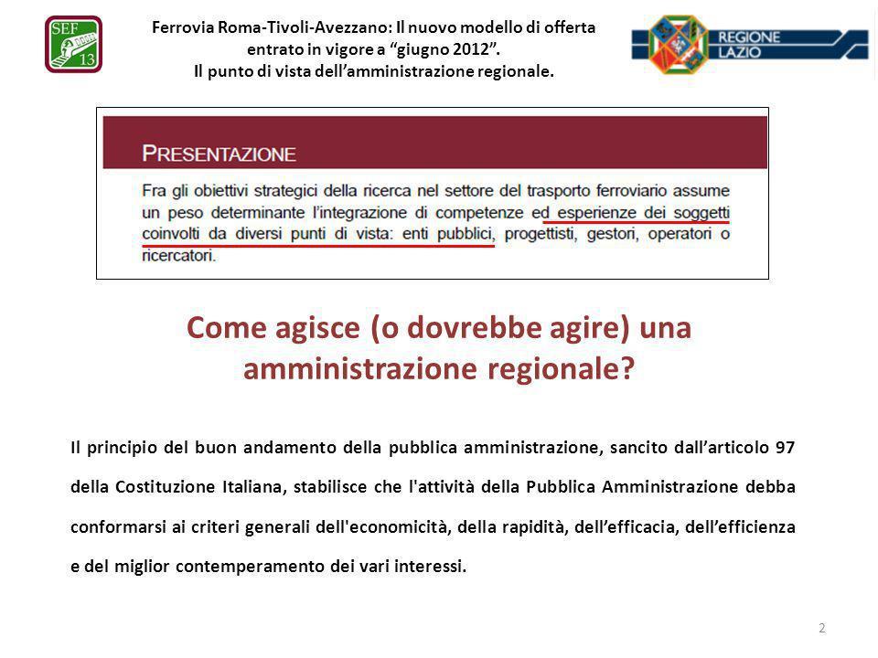 Ferrovia Roma-Tivoli-Avezzano: Il nuovo modello di offerta entrato in vigore a giugno 2012. Il punto di vista dellamministrazione regionale. Come agis