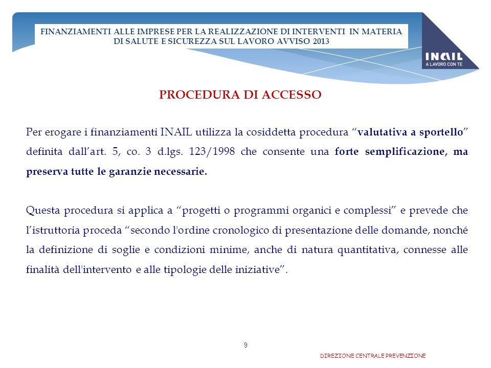 8 FINANZIAMENTI ALLE IMPRESE PER LA REALIZZAZIONE DI INTERVENTI IN MATERIA DI SALUTE E SICUREZZA SUL LAVORO AVVISO 2013 LISTITUTO PER I PROGETTI CHE COMPORTANO UN CONTRIBUTO PARI O SUPERIORE A 30.000 EURO CONCEDE UNANTICIPAZIONE FINO AL 50% DELLIMPORTO DEL CONTRIBUTO, PREVIA COSTITUZIONE DI GARANZIA FIDEIUSSORIA IL CONTRIBUTO INAIL E COMPATIBILE CON I BENEFICI DERIVANTI DA INTERVENTI PUBBLICI DI GARANZIA SUL CREDITO, QUALI QUELLI GESTITI DAL FONDO DI GARANZIA PER LE PICCOLE E MEDIE IMPRESE DI CUI ALLART.