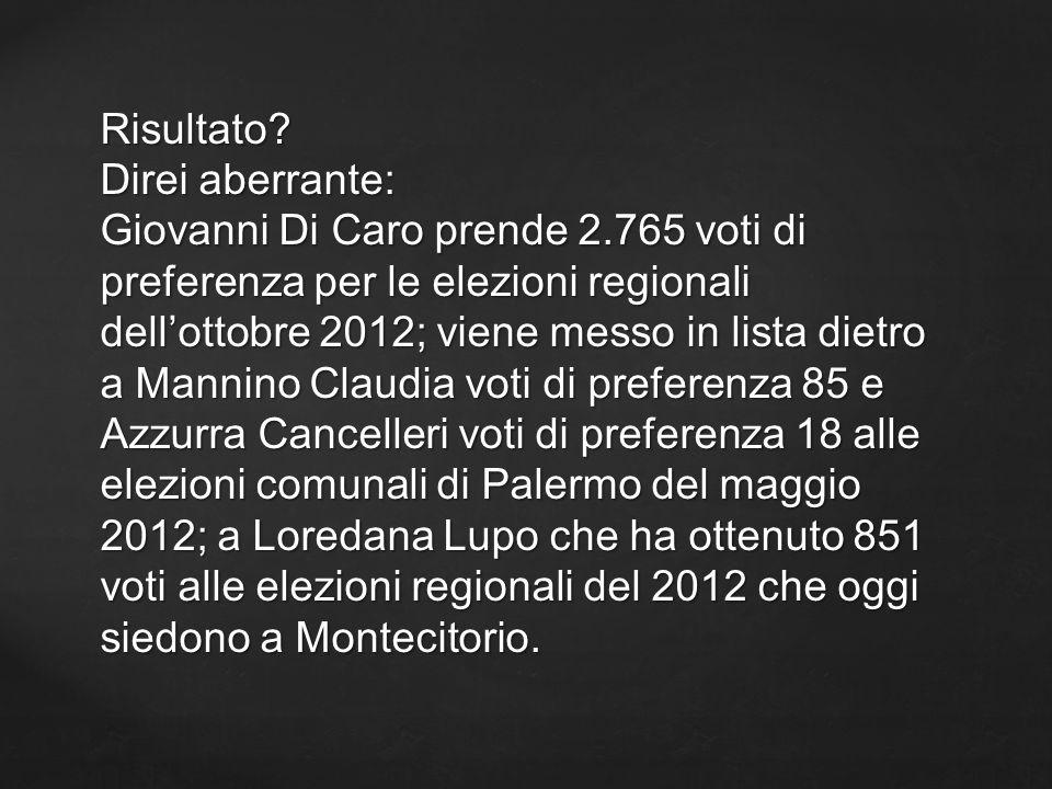 Risultato? Direi aberrante: Giovanni Di Caro prende 2.765 voti di preferenza per le elezioni regionali dellottobre 2012; viene messo in lista dietro a