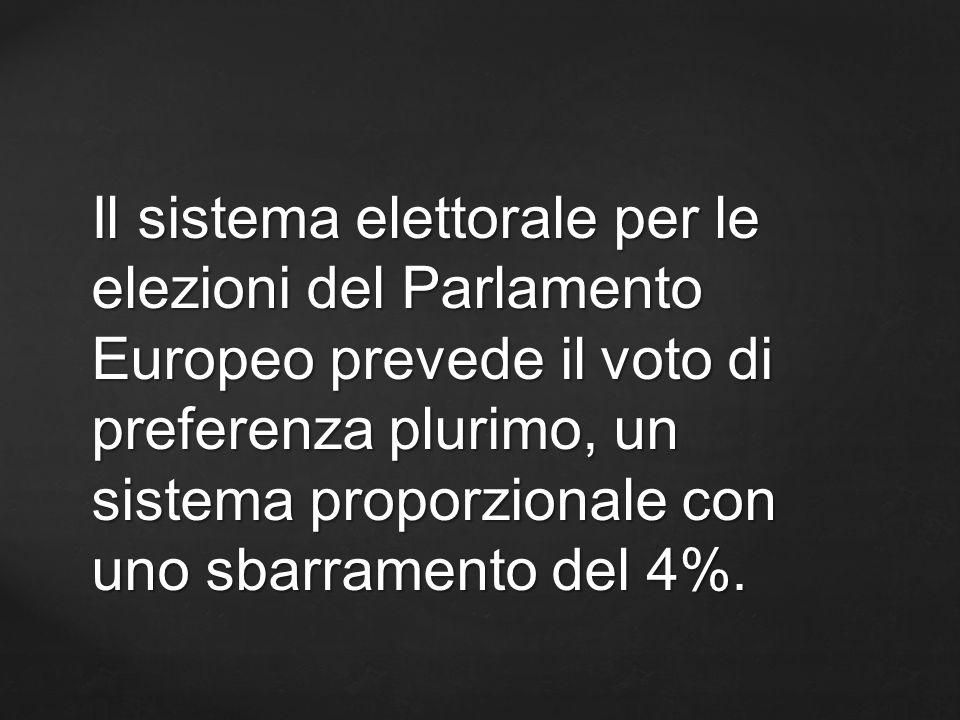 Il sistema elettorale per le elezioni del Parlamento Europeo prevede il voto di preferenza plurimo, un sistema proporzionale con uno sbarramento del 4