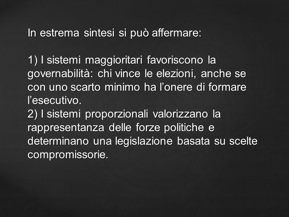 La legge elettorale 270/2005 ( comunemente definita porcellum) prevede un sistema proporzionale con correttivi: 1) diversi sbarramenti per entrare in Parlamento ( questi variano tra Camera e Senato e tra movimenti coalizzati o che concorrono tra di loro).
