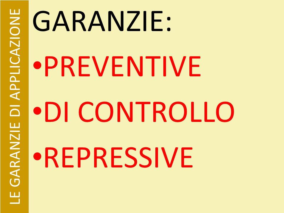 GARANZIE: PREVENTIVE DI CONTROLLO REPRESSIVE LE GARANZIE DI APPLICAZIONE