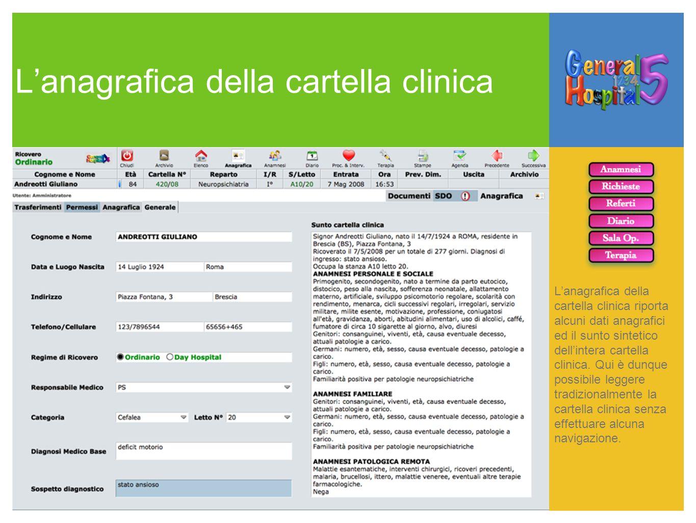 Lanagrafica della cartella clinica Lanagrafica della cartella clinica riporta alcuni dati anagrafici ed il sunto sintetico dellintera cartella clinica