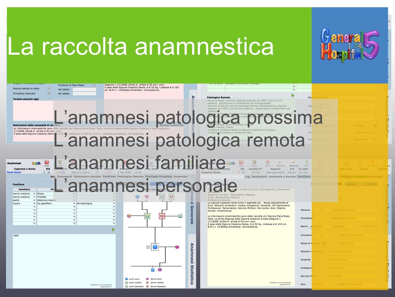 La raccolta anamnestica Lanamnesi patologica prossima Lanamnesi patologica remota Lanamnesi familiare Lanamnesi personale