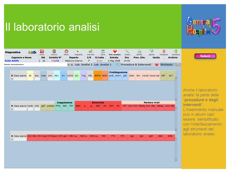 Il laboratorio analisi Anche il laboratorio analisi fa parte delleprocedure e degli interventi. Linserimento manuale può in alcuni casi essere semplif