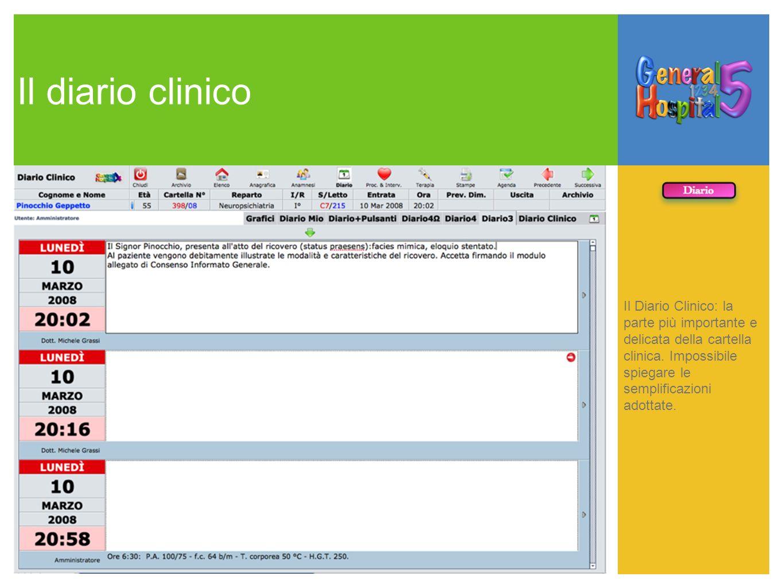 Il diario clinico Il Diario Clinico: la parte più importante e delicata della cartella clinica. Impossibile spiegare le semplificazioni adottate.