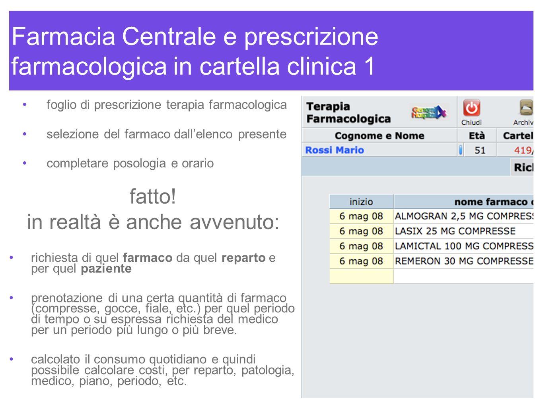 Farmacia Centrale e prescrizione farmacologica in cartella clinica 1 foglio di prescrizione terapia farmacologica selezione del farmaco dallelenco pre