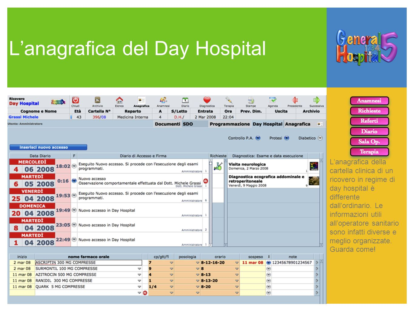 Lanagrafica del Day Hospital Lanagrafica della cartella clinica di un ricovero in regime di day hospital è differente dallordinario. Le informazioni u