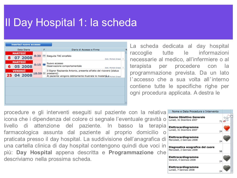 Il Day Hospital 1: la scheda La scheda dedicata al day hospital raccoglie tutte le informazioni necessarie al medico, allinfermiere o al terapista per