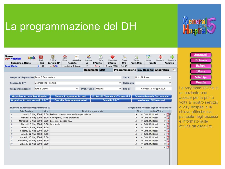La programmazione del DH La programmazione di un paziente che accede per la prima volta al nostro servizio di day hospital è la chiave affinchè sia pu