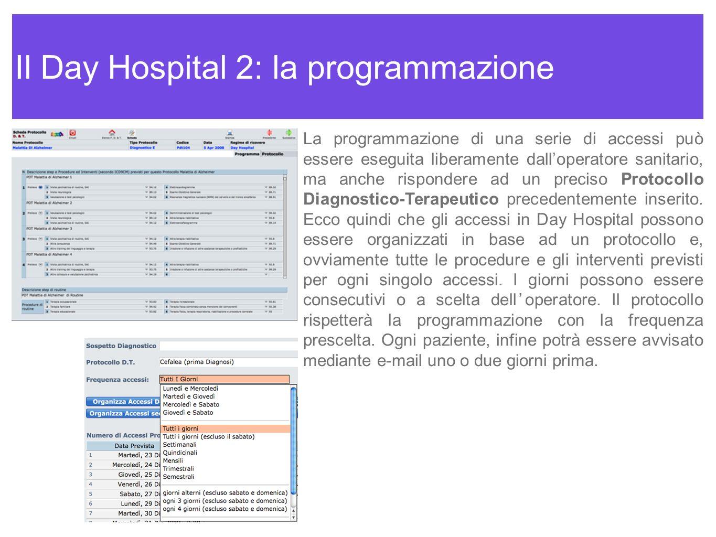 Il Day Hospital 2: la programmazione La programmazione di una serie di accessi può essere eseguita liberamente dalloperatore sanitario, ma anche rispo