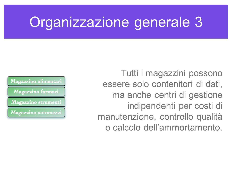 Organizzazione generale 3 Tutti i magazzini possono essere solo contenitori di dati, ma anche centri di gestione indipendenti per costi di manutenzion