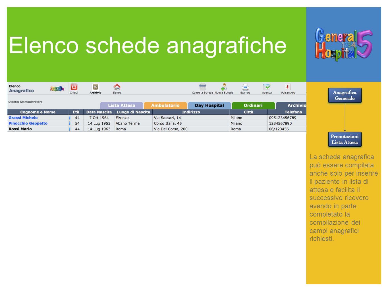 Elenco schede anagrafiche La scheda anagrafica può essere compilata anche solo per inserire il paziente in lista di attesa e facilita il successivo ri