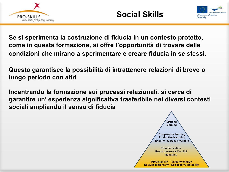 Social Skills Prevedibilità – Valore -Scambio Reciprocità – Posizione Vulnerabile Comunicazione – Dinamiche di gruppo Gestione dei conflitti Apprendim