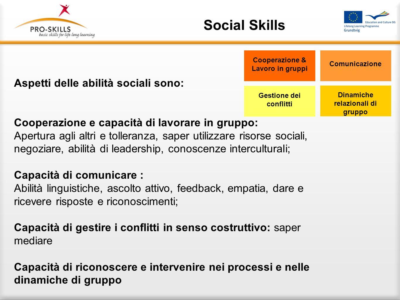 Social Skills La nostra definizione di abilità sociali Le abilità sociali sono quelle capacità che consentono allindividuo di dare ai propri comportam