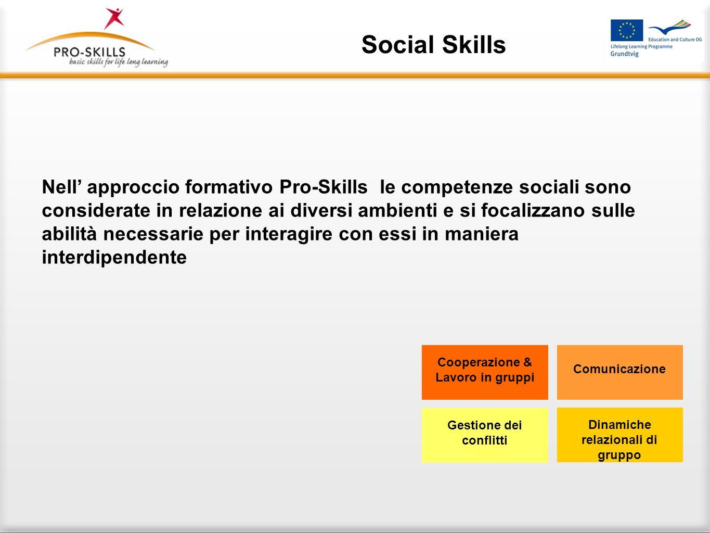 Social Skills Aspetti delle abilità sociali sono: Cooperazione e capacità di lavorare in gruppo: Apertura agli altri e tolleranza, saper utilizzare ri