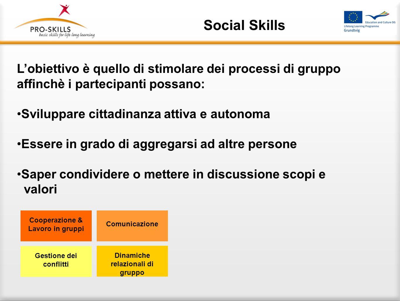 Social Skills Nell approccio formativo Pro-Skills le competenze sociali sono considerate in relazione ai diversi ambienti e si focalizzano sulle abili
