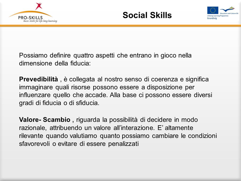 Social Skills Per poter raggiungere questo obiettivo lapproccio Pro-Skills definisce due aree principali su cui concentrarsi : Costruzione della fiduc