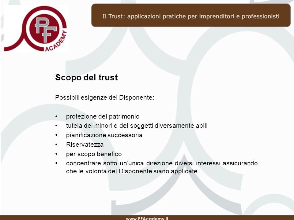 Peculiarità del trust Segregazione del patrimonio I beni appartenenti a un trust non possono essere oggetto di pignoramento, né da parte dei creditori personali del settlor, del trustee né dei beneficiari o di loro eredi Possibilità di apportare sia bene immobili che mobili