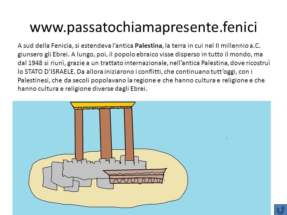www.passatochiamapresente.fenici A sud della Fenicia, si estendeva lantica Palestina, la terra in cui nel II millennio a.C. giunsero gli Ebrei. A lung