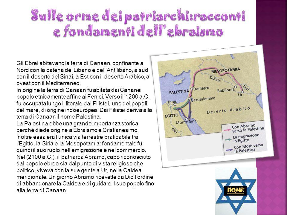 Gli Ebrei abitavano la terra di Canaan, confinante a Nord con la catena del Libano e dellAntilibano, a sud con il deserto del Sinai, a Est con il dese