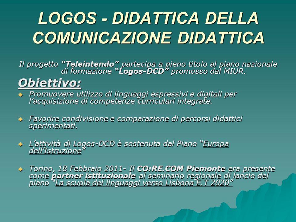LOGOS - DIDATTICA DELLA COMUNICAZIONE DIDATTICA Il progetto Teleintendo partecipa a pieno titolo al piano nazionale di formazione Logos-DCD promosso dal MIUR.