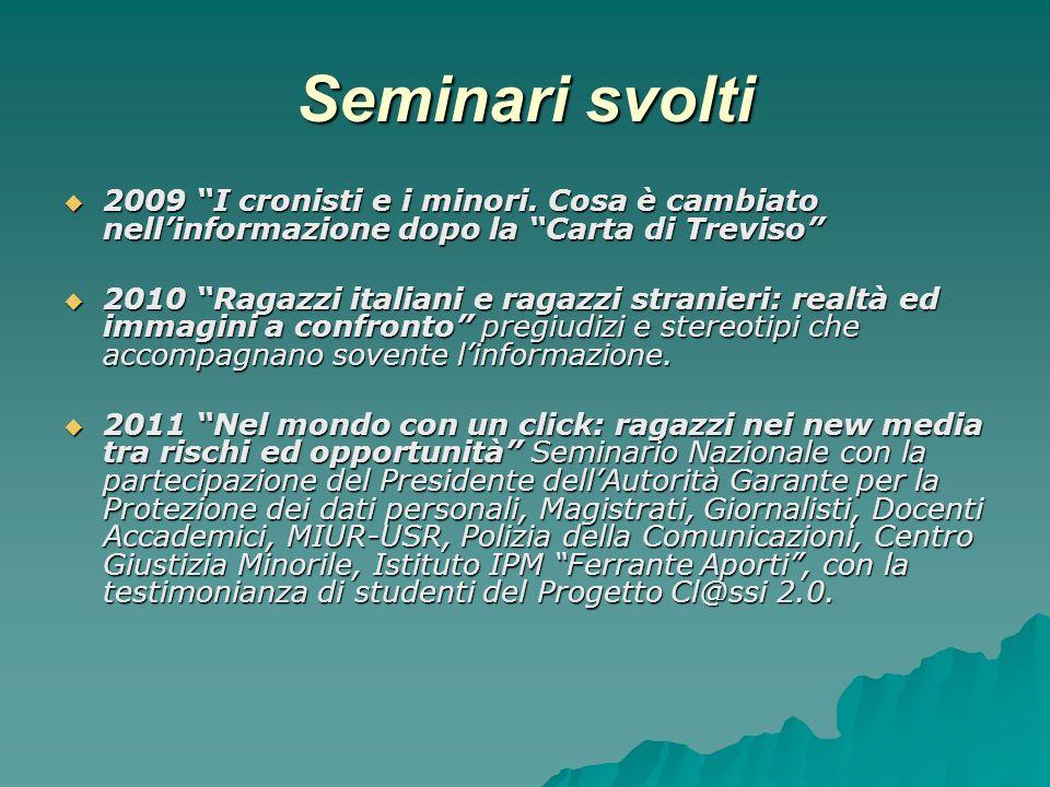 Seminari svolti 2009 I cronisti e i minori.