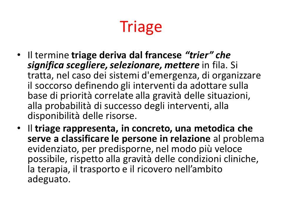 Triage Il termine triage deriva dal francese trier che significa scegliere, selezionare, mettere in fila. Si tratta, nel caso dei sistemi d'emergenza,