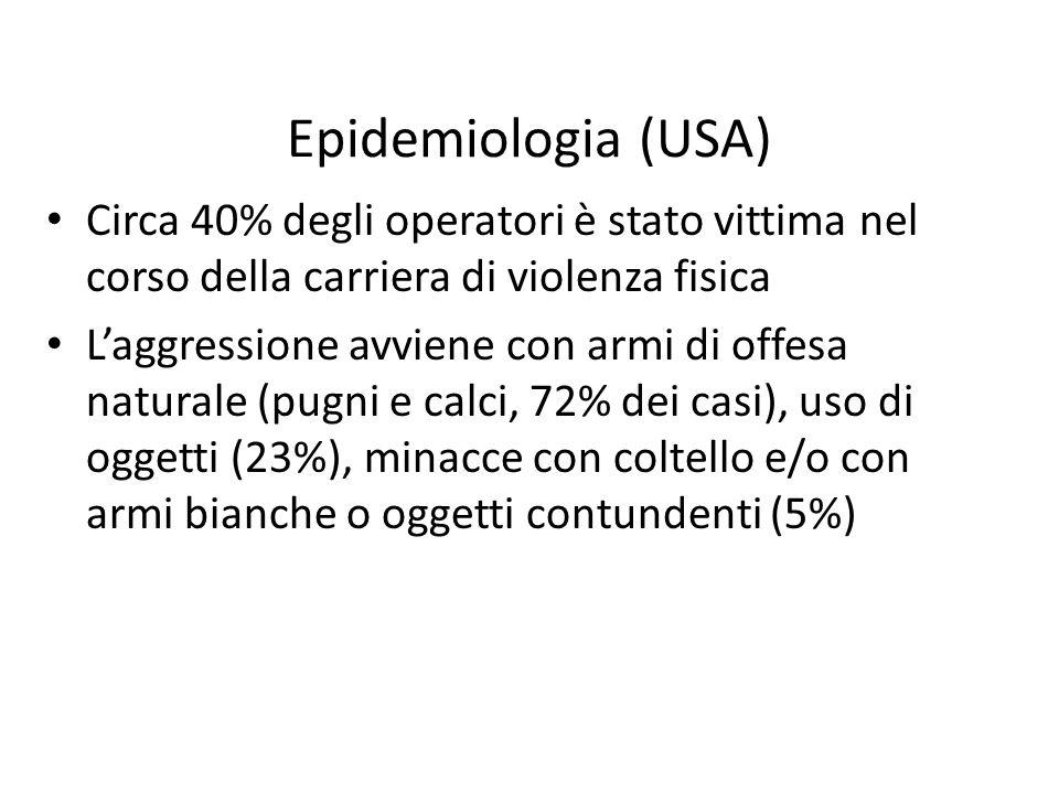 Epidemiologia (USA) Circa 40% degli operatori è stato vittima nel corso della carriera di violenza fisica Laggressione avviene con armi di offesa natu