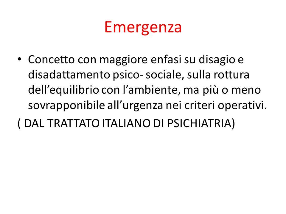 Emergenza Concetto con maggiore enfasi su disagio e disadattamento psico- sociale, sulla rottura dellequilibrio con lambiente, ma più o meno sovrappon
