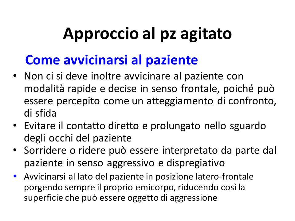 Approccio al pz agitato Non ci si deve inoltre avvicinare al paziente con modalità rapide e decise in senso frontale, poiché può essere percepito come