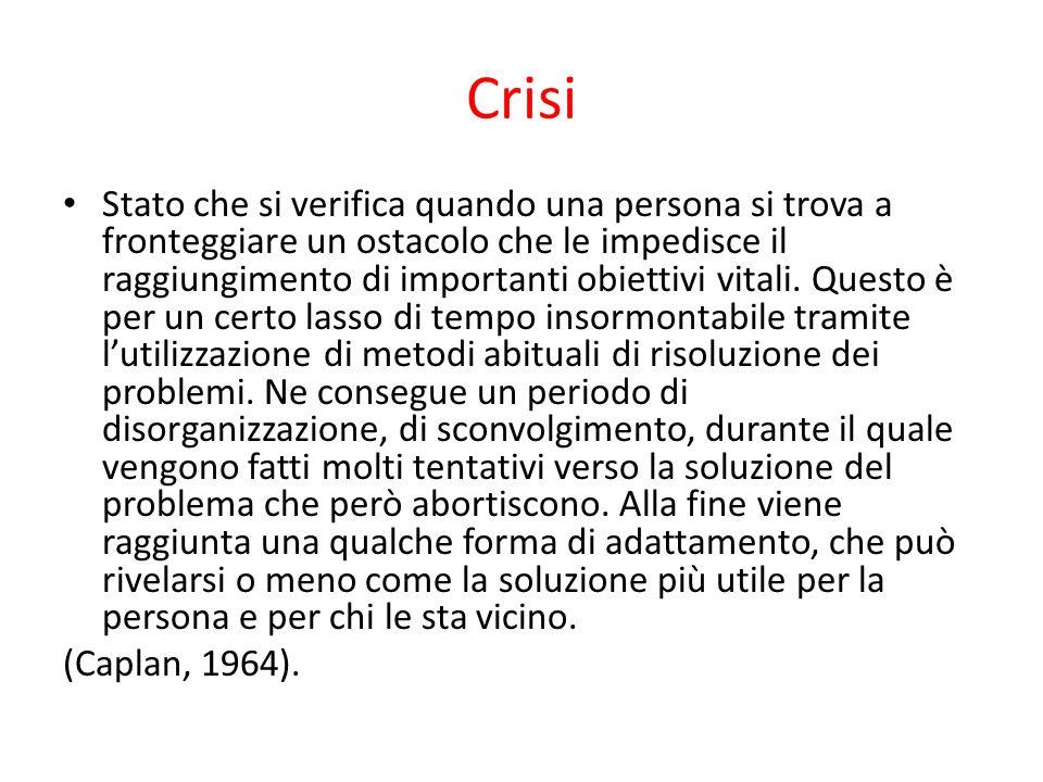 Crisi Stato che si verifica quando una persona si trova a fronteggiare un ostacolo che le impedisce il raggiungimento di importanti obiettivi vitali.